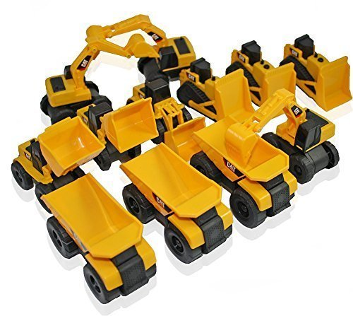 Toy State CAT Caterpillar Construction Toys Mini Machine set of 12 Assorted - Dump Truck Bulldozer Wheel Loader and Excavator- individually Packaged Free-Wheeling Vehicles Great As Cake Toppers