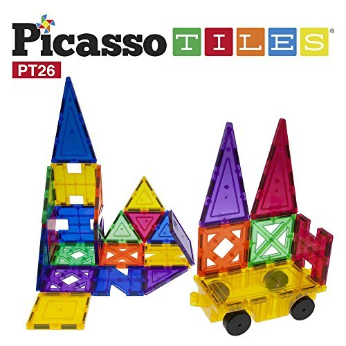 PicassoTiles 26 Piece Building Blocks 26pcs Inspirational Kit 3D Building Construction Toys Clear Magnetic Stacking Set STEM Playboards Magnet Felt Tiles Novelty Games Creativity Beyond Imagination