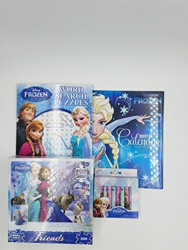 Disney Frozen Fun Sized Mega Puzzle Word Search 4 Piece Activity Bundle With 2017 Wall Clander