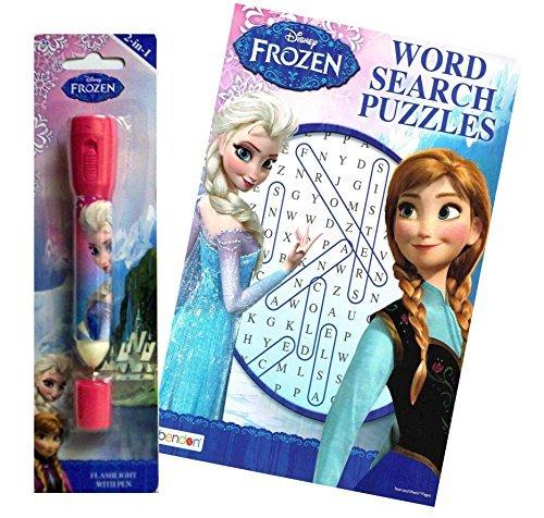 Disney Frozen Queen Elsa Inspired Brain Teaser Activity Set Includes Frozen Word Search Puzzle Book Plus Bonus Elsa 2in1 Flashlight with Pen Combo by Bendon