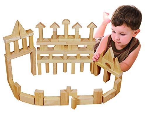 ECR4Kids Solid Hardwood Building Block Set Natural 75-Piece