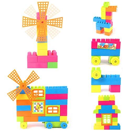 Easydeal Children Kids Boys Girls Building Blocks Construction Developmental Toy Set with Bag 66-Piece