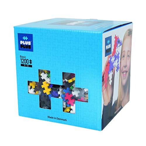 PLUS PLUS - Open Play Set - 1200 Piece - Basic Color Mix Construction Building Stem Toy Interlocking Mini Puzzle Blocks for Kids