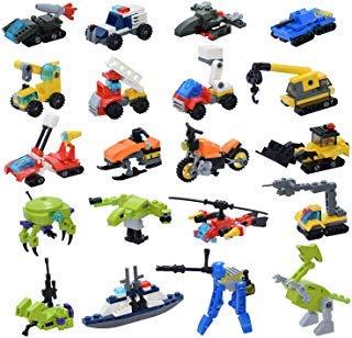 Sawaruita 587PCS Vehicles Building Blocks Set Educational Construction Building Toys for Kids Ages 6 Creative Treasure Box Prizes 20 Sets A