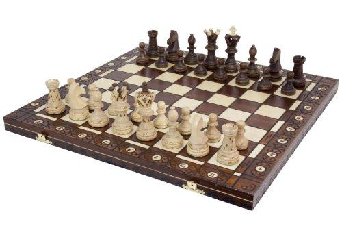 Wegiel Handmade European Ambassador Chess Set - Wooden 21 Inch Beech Birch Board With Felt Base - Carved Hornbeam Sycamore Wood Chess Pieces - Compartment Inside The Board To Store Each Piece