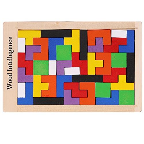 Arshiner 40PCS Wooden Tetris Puzzle Tangram Jigsaw Geometric Sorting Building Block Toy Bricks