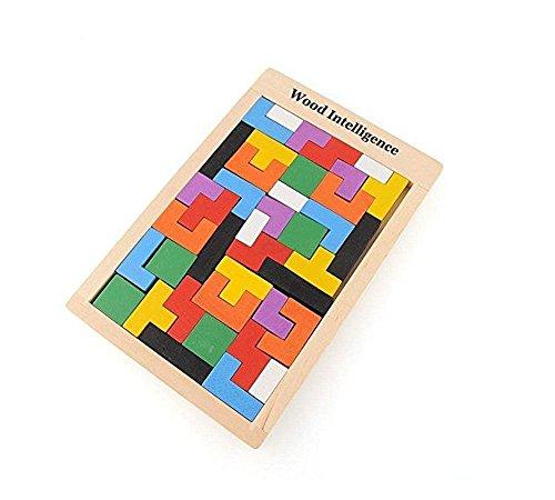 BIBNice Wooden Tangram Jigsaw Building Blocks Game Tetris Puzzle Toy 40 Pieces