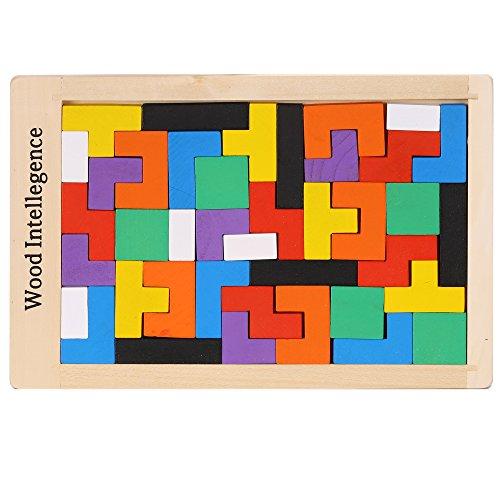 Eshion Wooden Tangram Jigsaw Building Blocks Geometric Sorting Board Tetris Puzzle Toy 40pcs Educational Toy