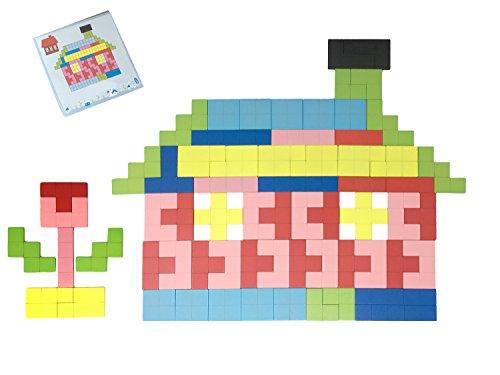 Lewo Floor Puzzles Wooden Tetris Preschool Toys Tangram Brain Teaser Board Game 114 pieces