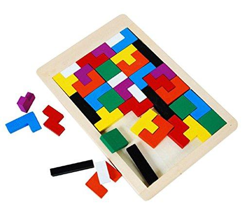 Vinmax Children Kid Wooden Brain Teaser Tetris Puzzle Game Tangram Toy