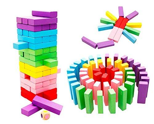 Xin store 48 Pcs Classic Colored Wooden Tumbling Tower Blocks